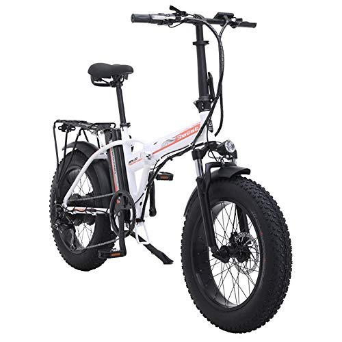 Shengmilo 500W Bici elettriche Bicicletta elettrica Pieghevole Mountain Snow E-Bike Road Cycling, Pneumatico Grasso da 4 Pollici, Shimano 7 velocità variabile (Bianca)