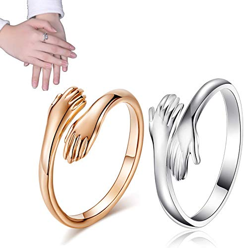 Love Hug Ring Open Ring, 925 Silver Heart Love Hug Hands One Size Adjustable Ring Jewelry for Women Men Couples Wedding Ring (Gold+Silver, 1)