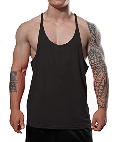 Camiseta de tirantes para hombre de algodón puro Negro M