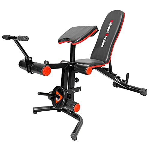 NATIONAL BODYLINE Adjustable Weight Bench Full Body Workout Machine| Foldable Inclined Decline Flat Bench Press| Exercise Table| Fitness Home Gym Bench - Black (Preacher & Leg Curl NB 35 Bench)