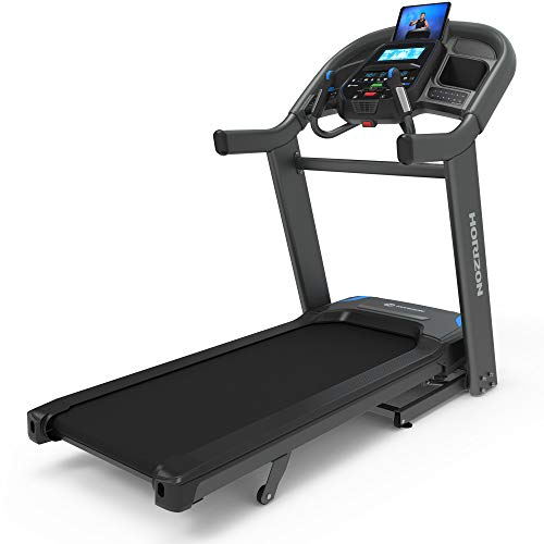 Horizon Fitness 7.4 Advanced Training Studio Treadmill, Bluetooth Smart, Connect to Training Apps Like Peloton, Zwift & More, 22x60 XL Deck, 3.5 CHP Motor, Lose 27% Body Fat with Sprint8, Black