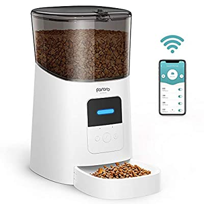 Faroro Automatic Cat Feeder 2.4G WiFi Enabled 6L Smart Food Dispenser for Cats and Small Dogs with App Control, Programmable Timer, Distribution Alarms and Voice Recorder Up to 15 Meals per Day