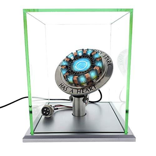 1Swords Iron Man Arc Reactor MK1 1:1 Ratio, Vibrationsmesser, LED-Licht, USB-Anschluss, mit Vitrine, für Sammlungen, Spielzeug, Geschenk