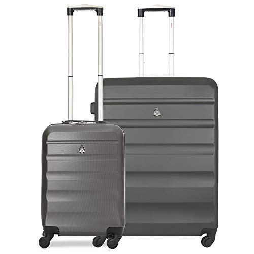Aerolite Lightweight Hard Shell 4 Wheel Travel 21in 55cm Hand Cabin Plus 25in Medium Hold Checked Check in 2 Piece Luggage Suitcase Set Charcoal