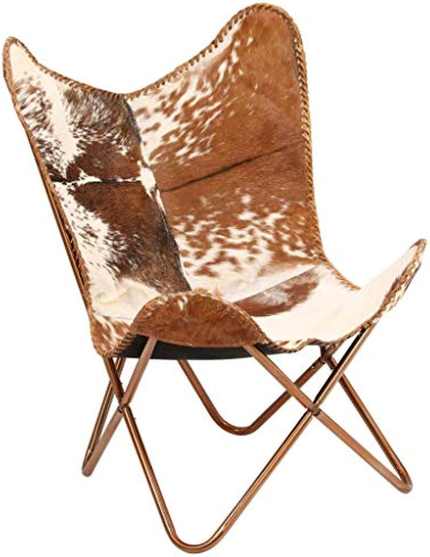 Festnight Butterfly-Sessel  Relaxstuhl Echtleder  Echt Leder Stuhl  Vintage Stühle mit Rückenlehne  Retro Lederstuhl  Braun und Wei Echtes Ziegenleder mit Stahlrahmen 74 x 66 x 90 cm