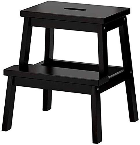 TZ 2-staps massief houten ladder, huishoudelijke kinderstoel, keukenkraam, kinderveiligheidsstap, mini-2-trapladder, 3 kleuren Zwart