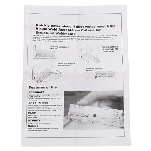 Herramienta de medición de soldadura, calibre de soldadura individual Ajuste de calibre Inspección de soldadura Alta precisión para medir para inspección