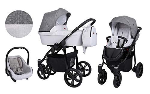 Clamaro 'Verino' Kinderwagen 3 in 1 Premium Kombikinderwagen Set mit Babywanne, Sportwagen Buggy Aufsatz und 0+ (0-13 kg) Autositz Babyschale - Design: 1. Flachs Grau und Jeans Grau