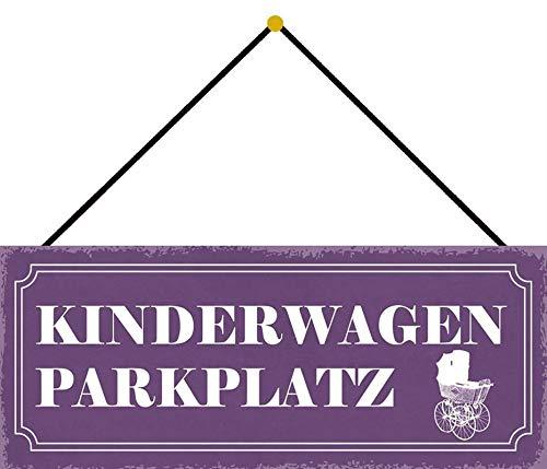 Metalen bord 27 x 10 cm gewelfd met koord kinderwagen parkeerplaats decoratie geschenk bord