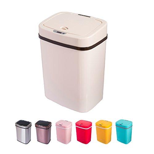 *Sensor Mülleimer 12 Liter Automatik Abfalleimer bunt Push Kücheneimer Küche Bad Wohnzimmer (12 L, Creme)*
