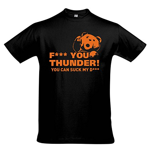 T-Shirt - TED - Fuck you Thunder - FUN KULT KINO SHIRT S-XXL , Deep black - orange , L