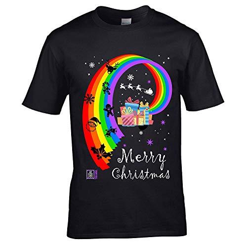 LGBT Sticker Premium Kerstmis Gay Pride Rainbow Vlag & Kerstmis LgBTqia motief noviteit kerstcadeau heren zwart T-shirt top