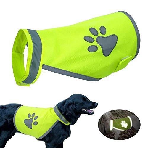 AAVBR Premium Reflektierende Weste (Neon) Hohe Sichtbarkeit Sicherheit Verstellbarer Riemen   Walking, Jogging, Training, Jagd   5 Größen S M L XL Hund - XXL