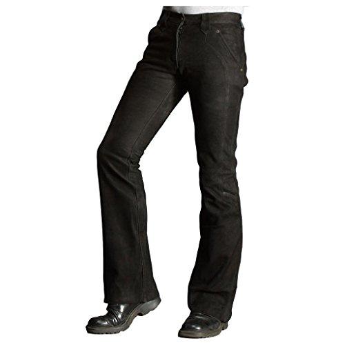 Skorpion Retro Nubukleder Jeans Motorradhose aus Rinder Nubukleder, Schwarz, Gr.: 38