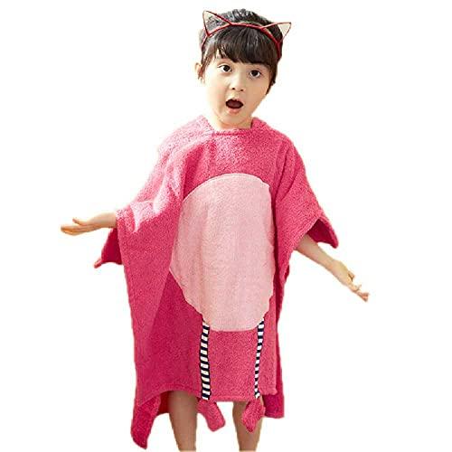 N\C Versión Coreana De Toalla De Baño De Algodón para Niños De Dibujos Animados Lisos con Capucha De Algodón con Capucha Albornoz De Bebé Masculino Y Femenino 70 * 140cm / Flamenco Rosado