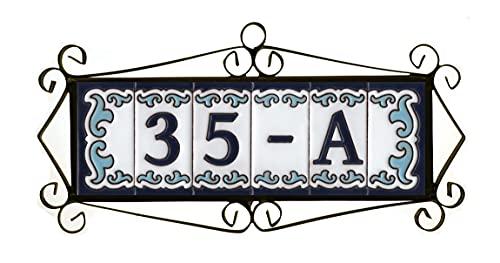 Números de casa españoles de 7,5 cm x 3,7 cm, letras, símbolos y marcos (6 marcos de azulejos)