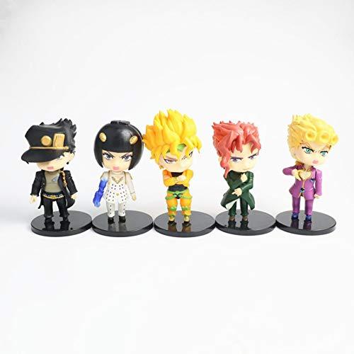 Plushe 5PCS Anime JoJo bizzarra Avventura Figura Kujo Jotaro Figurine Higashikata Josuke Action Model Toy 10-11CM 5pcsStyleA