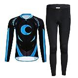 YFPICO Ciclismos Traje Conjunto Maillot Niños Niñas Unisex Transpirable Secado Rápido Camiseta Manga Larga + Pantalon Largo, Negro + Azul, 116