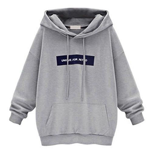 Xinan Kapuzenpullover Damen Langarm Sweatshirt Pullover Jumper Hooded Lange Bluse (L, Grau)