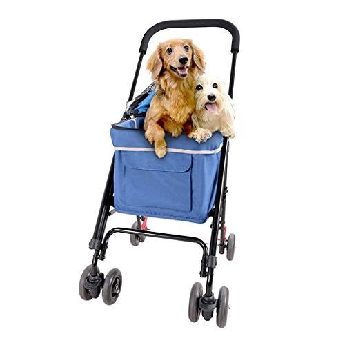 Hondenkinderwagen buiten reis, huisdier draagbaar kinderwagen kattenwagen drager voor kleine middelgrote honden hondenkar wagen blauw