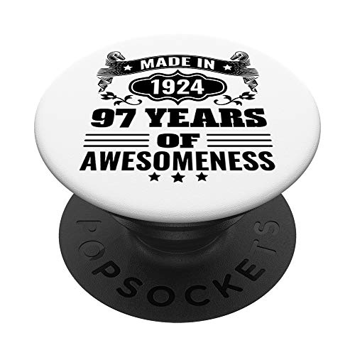Made In 1924 97 Years Of Awesome 97th Birthday Gift PopSockets PopGrip: Agarre intercambiable para Teléfonos y Tabletas
