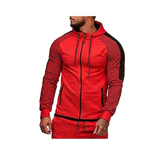 Top,Veste de Sport à Capuche pour Hommes de Grande Taille avec Fermeture à glissière et Fermeture à glissière Rouge 5XL