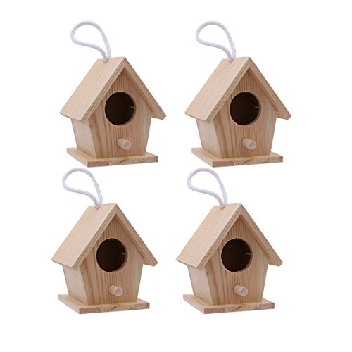ARTLILY Holz Vogelhaus zum Aufhängen und Bemalen Vogelhäuschen Nisthöhle Hängedeko Gartendeko Nistkasten für Papagei Kleine Vögel und Kinder Basteln 4 Stücke