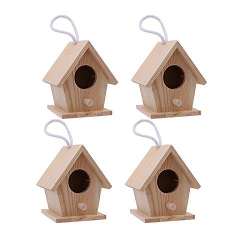 SUPVOX 4 Piezas DIY Casitas de Madera para Pájaros para Decorar Manualidades para niños