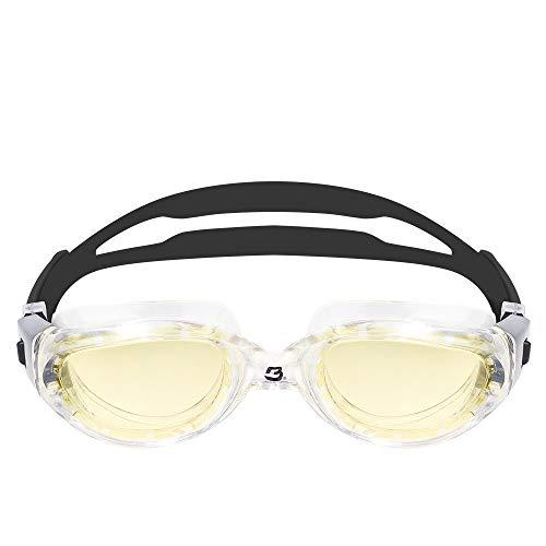 BARRACUDA Occhialini da nuoto MANTA - Extra large, acque libere, protezione UV antiappannamento, montatura monoblocco, impermeabile, per adulti (13535) (MARRONE/CHIARA)