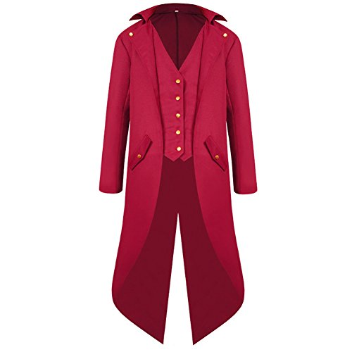 H&ZY Men's Steampunk Vintage Tailcoat Jacket Gothic Victorian Frock Coat Uniform Halloween Costume Red