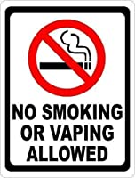 注意サイン-喫煙や蒸気を吸うことはできません。通知のためのインチ通りの交通危険屋外の防水および防錆の金属錫の印