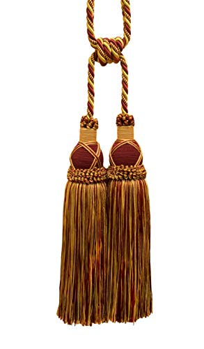 DÉCOPRO Beautiful Burgundy Red, Gold Curtain & Drapery Large Double Tassel Tieback / 10' Tassel, 30 1/2' Spread (Embrace), 3/8' Cord, Imperial II Collection Style# TBIC-2 Color: Burgundy Gold - 1253