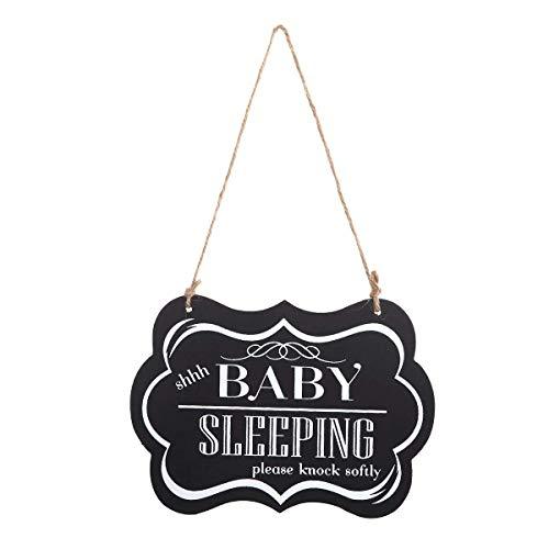 WINOMO Baby Sleeping Sign Shhh Baby Sleeping Please Knock Softly Wood Decorative Sign Nursery Hanging Plaque Baby Door Cot Sign