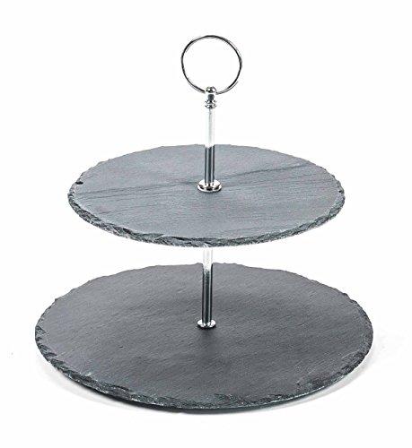 alpina Etagere mit 2 Ebenen aus Schiefer, Metall-Gestänge, Durchmesser ca. 20/25 cm, Höhe ca. 24 cm