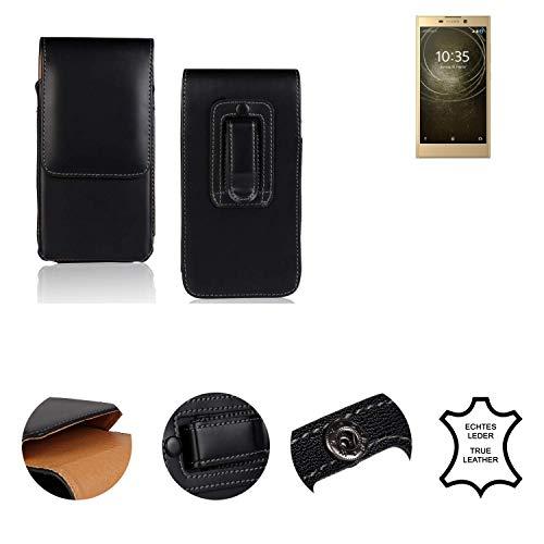 K-S-Trade® Holster Gürtel Tasche Für Sony Xperia L2 Dual-SIM Handy Hülle Leder Schwarz, 1x