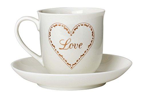 Suki Gifts Loving Hearts Tasse À Thé Et Soucoupe, Blanc