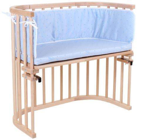 Babybay 105105 Beistellbett original, natur lackiert, inklusive Nestchen und Matratze, hellblau