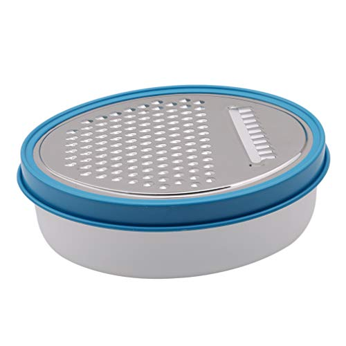 Yunzee Potato Slicer Plastic with Food Container Box Oval Head Portable Travel Cooking Kitchen,Blue Oval Plane Hole