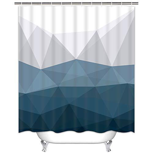 Ikfashoni Geometrische Duschvorhänge, Dreieck Duschvorhänge mit 12 Haken, Navy Duschvorhang, Farbverlauf Duschvorhang für Badezimmer, Grau Blau