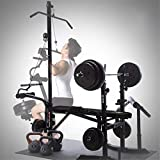 KINGC Weight Bench Combination Incline Stool Bench Press Bench Adjuatable Strength Training Weight Bed Multifunctional Home Heavy Duty Fitness Rack Workout Machine Max Load 440 Lbs Black
