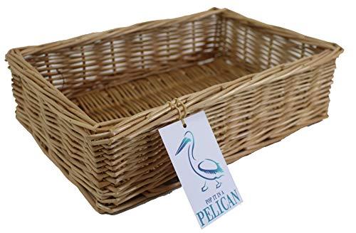 Pop-it-in-a-pelican - Cesta de mimbre para almacenaje (100% sauce entero, ideal para baños, dormitorios y oficinas en el hogar), para almacenar maquillaje, papeles o revistas, 32 cm)