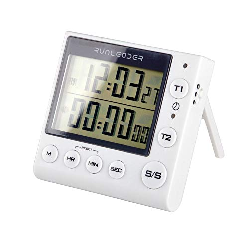 Runleader Digital Dual Kitchen Timer, Bakery Timer, Count Down/Count up Timer with Magnetic Back, Start/Stop, Alarm recordator, for Cooking Learning Sport Office (batería incluida) (KT002-WH)