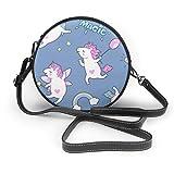 Bolso de hombro con diseño de unicornios pequeños y redondos, con cremallera, de piel suave, para mujer