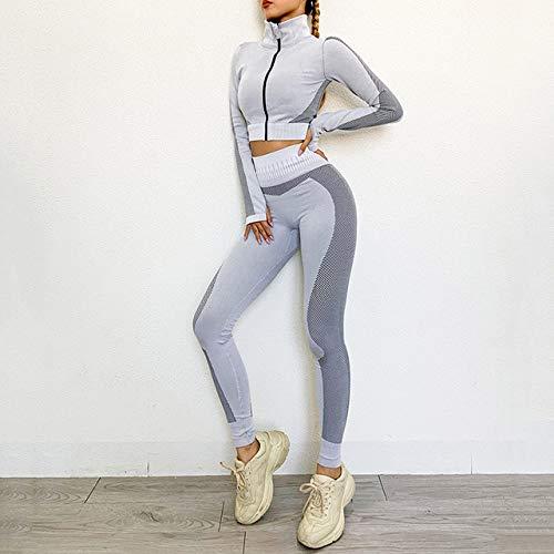AAJIA,Ropa Deportiva,Women Seamless Yoga Set Fitness Sports Suits Gym Cloth Yoga Long Sleeve Shirts High Waist Running Leggings Workout Pants Shirts,Grey Set,L