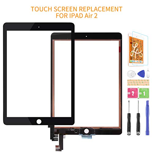 For Ipad Air 2 A1566 A1567 Touch Screen Replacement Digitizer Glass Assembly Kits, Free tempered film, glue and tools,Not LCD Screen. (Black)