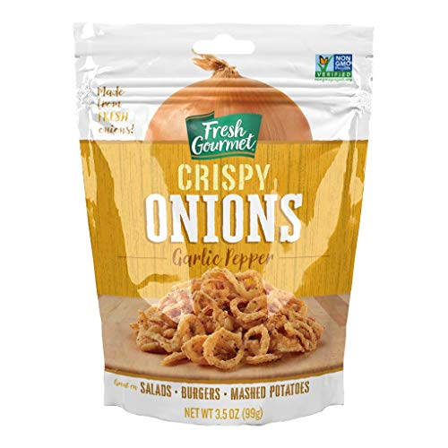 Fresh Gourmet Garlic Pepper Crispy Onions | 3.5 Ounce, Pack of 6 | Low Carb | Crunchy Snack and Salad Topper
