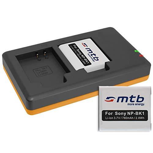 2 Akkus + Dual-Ladegerät (USB) kompatibel mit Sony NP-BK1 / Sony Bloggie MHS-PM5, CM5, Webbie PM1 / DSC-S780, S950, S980, W190, W370 … (inkl. Micro-USB-Kabel)