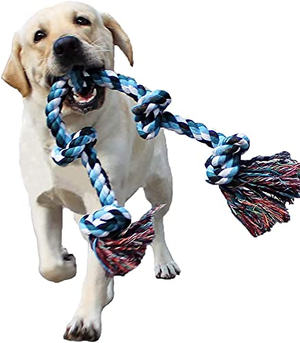 Dog Rope Toys for Aggressive Chewers Tough Rope Chew Toys for Large and Medium Dog 3 Feet 5 Knots Indestructible Cotton Rope for Large Breed Dog Tug of War Dog Toy Teeth Cleaning