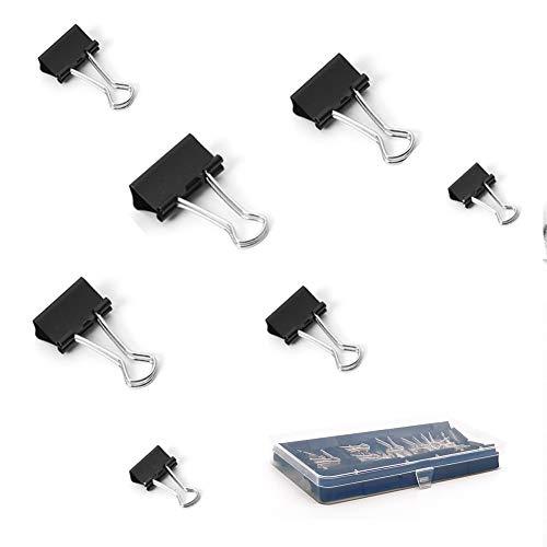 Foldback Klammern,60 Stück Klammer Metallklammern für Papierkram, 4 Verschiedene Größen Groß Mittel Klein Binder Clips 15mm 19mm 25mm 32mm (60 Stück)