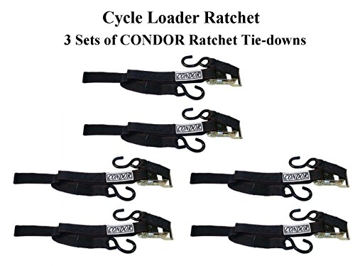 3 Pairs of Condor Motorcycle Cycle Loader Ratchet Tie-Down Straps (CL-RCT-B)
